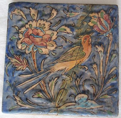 Antique Tile. Persian ? Middle Eastern ? German ?  Old Hand made Hand painted