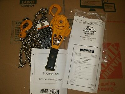 Harrington .75 Ton Lever Chain Hoist- 15 Ft. Chain,(LBO15) 1,500 pounds.