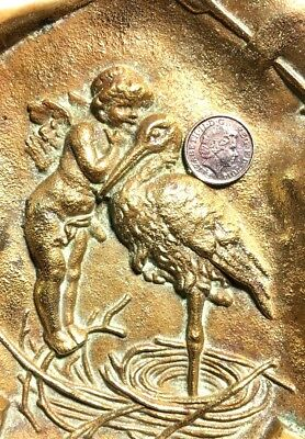 Antique Bronze Brass Cupid and Stork Coin Pin Tray marked 5500