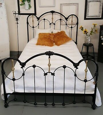 Antique Iron Queen Size Bed Black and Gold Victorian Frame