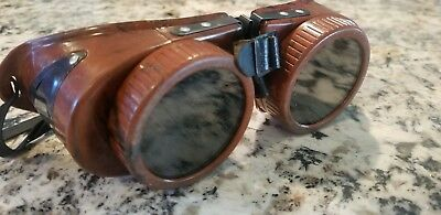 Vintage Welding Motorcycle Steampunk Goggles Brown Safety Glasses BAKELITE