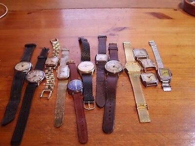 Job lot of 13  vintage mixed mechanical watches spares or repair or scrap