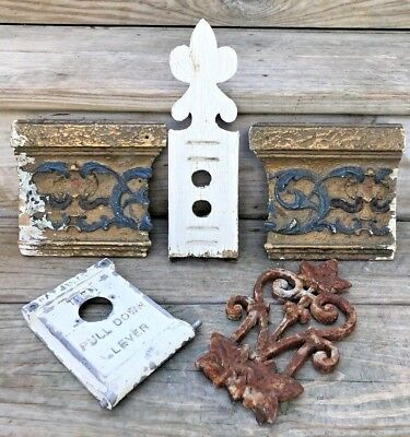 Vtg Antique Small Shabby Architectural Salvage Lot Wood Iron Rustic Ornate Decor