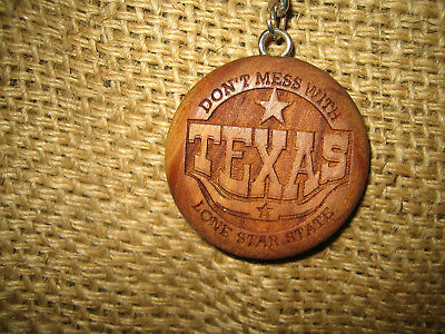 Don't Mess with Texas - Wood Carved Key Fob