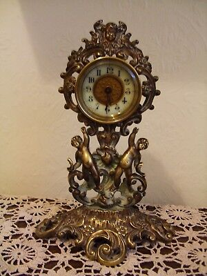 old brass mantle clock made by the british united clock company working.