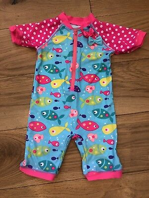 Girls SWIMSUIT ALL IN ONE SWIMMING COSTUME MATALAN Age 3-4 Fishes