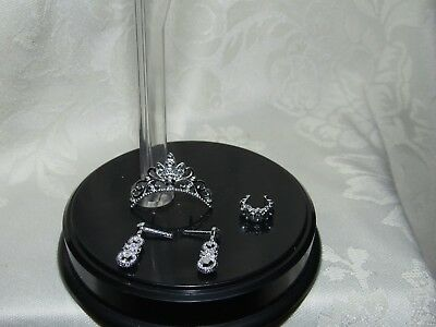 Barbie Faux Silver Tiara Crown & Earrings & Bracelet Accessory For Doll