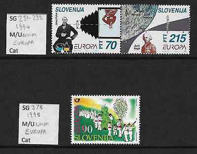Stamps. Slovenia. Europa. Sg 231-232 and Sg 378. MNH