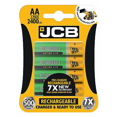 4 x JCB AA 2400mAh Rechargeable Ni-MH Batteries PreCharged MN1500 High Capacity
