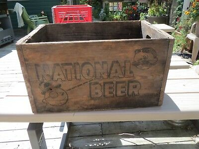 Vintage Wooden Crate National Beer Nice 4 Sided Graphics Natty Boh