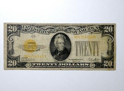 Series Of 1928 $20 Gold Certificate As Pictured