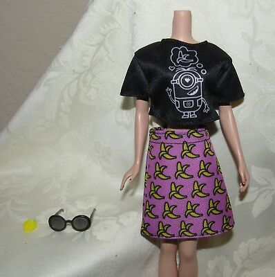 Barbie Despicable Me Minions Black Top Pink Banana Skirt Fashion For Doll