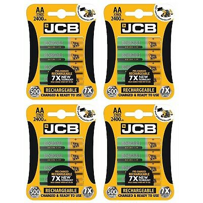16 x JCB AA 2400mAh Rechargeable Ni-MH Batteries PreCharged MN1500 High Capacity