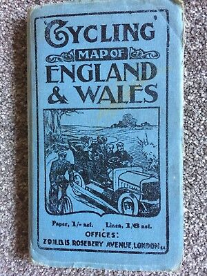 Early C.1900 Linen Cycling Map Of England And Wales By John Bartholomew