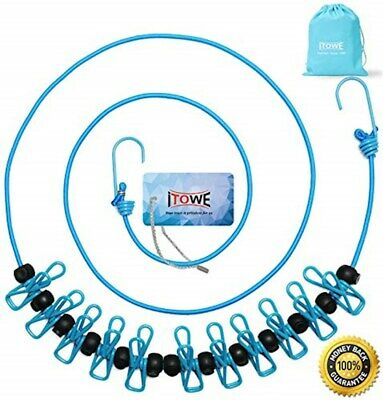 iTOWE Travel Elastic Clothesline Camping Clothes Lines Adjustable Clothes Rope