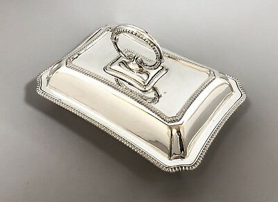 Antique silver plate entrée oblong serving breakfast dish beaded ornate J Dixon