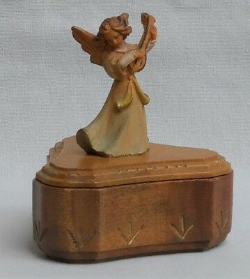 Vintage Anri Carved Wood Rosary Box with Angel