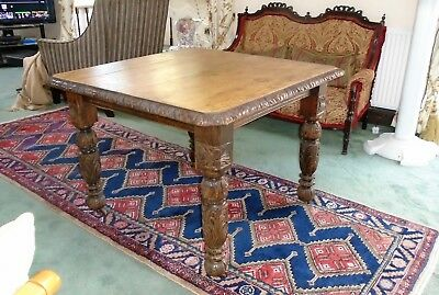 Victorian Heavely Carved Wind Out Oak Table