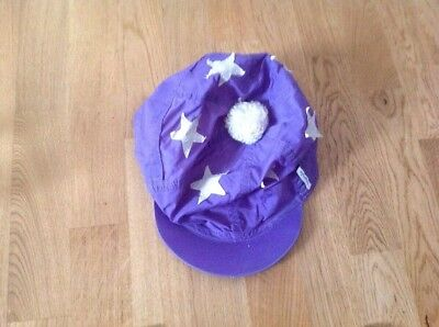 Purple & White Hat Silk Size Large With Bobble