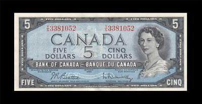 1954 BANK OF CANADA QEII $5 **Sig. Rasminsky** ~Consecutive 2 of 2~ (( aUNC ))