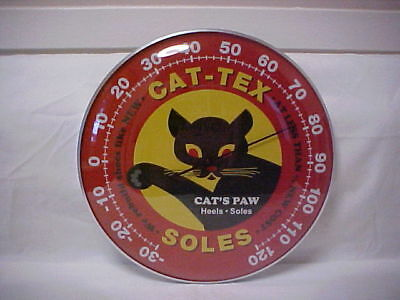 "Cat - Tex  Soles ""12 Round Thermometer Glass Dome Front & Aluminum Casing"