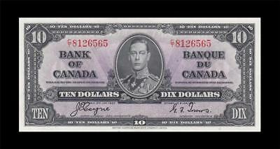 1937 BANK OF CANADA KGVI $10 **Coyne & Towers** (( GEM UNC ))