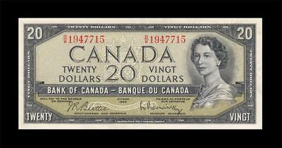 1954 BANK OF CANADA QEII $20 **Beattie & Rasminsky** (( EF+ ))