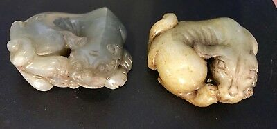 Antique Chinese Green Celadon Jade Dog Of Pho Figures (long Ears) 2