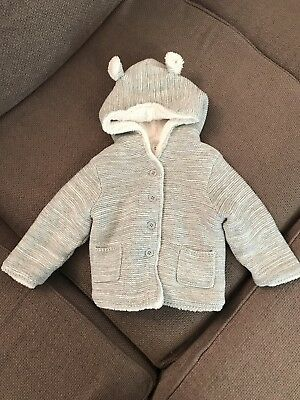 Boys or Girls GAP Grey Hooded Cardigan Jacket Age 12-18 Months New Without Tags