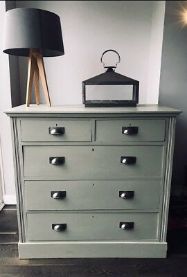 Antique Mahogany Chest Of Five Drawers Painted In Farrow And Ball French Grey