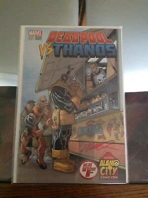 Uber Hot Signed Deadpool Vs Thanos Alamo City Comic Con Exclusive Variant NM