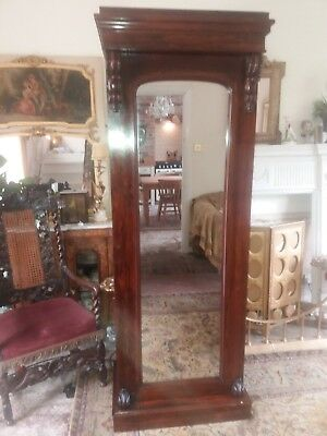 Beautiful Antique Rosewood Mirrored Single Armoire