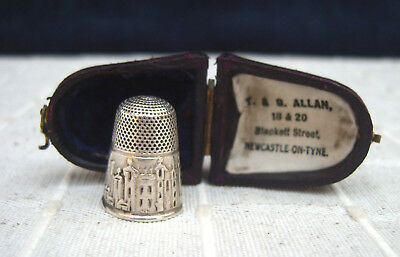 Abbotsford House Victorian scenic silver thimble