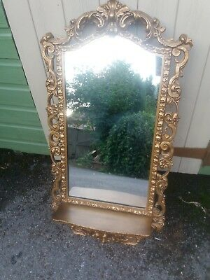 Antique Gilt Wood Carved Mirror With Shelf