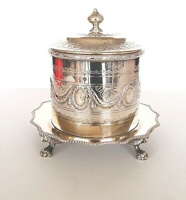 "Antique English Silver Plate Silverplate Repousse Biscuit Box_8"" Tall_8"" Dia."