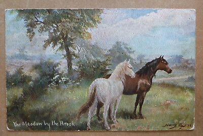 """Horse Postcard-  """"The Meadow by The Brook- Artist Harry Payne"""