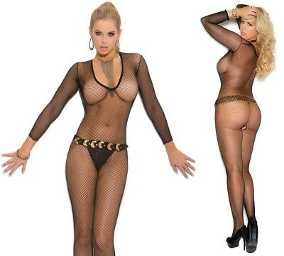 Deep V Black Fishnet Body Stocking W/Open Crotch, Full Body Tights, Fat Suit