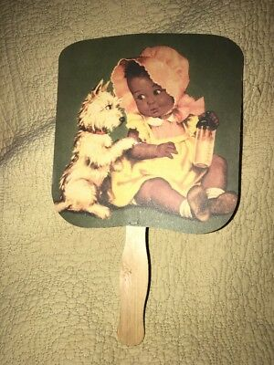 Antique Advertisement Cream Of Wheat Fan Black Americana Baby And Dog