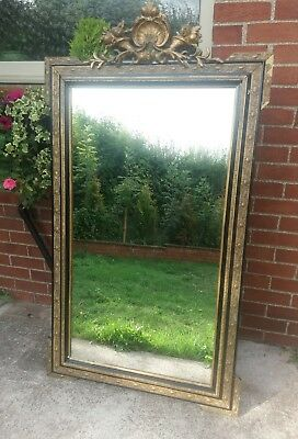 Very Large Antique Victorian Gilt And Gesso Mirror