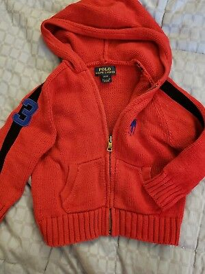 Polo Ralph Lauren Toddler Boys Zip Up Hooded Sweater Size 2T