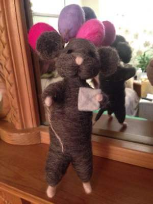 """Needle Felted Standing mouse Approx 10"""" Tall Hand Crafted, Natural Wool"""