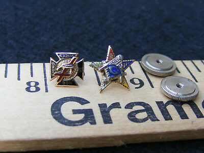 Lot of 2 Masonic Lapel Pins 10k Knight Templar Eastern Star G