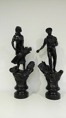 Pair of Antique Spelter Pewter Figures