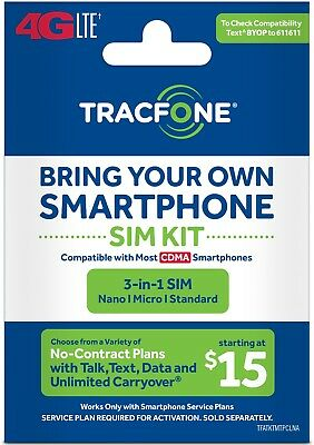 TracFone Bring Your Own Phone BYOP Verizon Sim Card Activation Kit 4G LTE