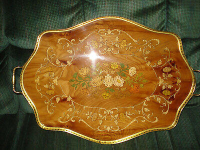 LARGE Antique Lacqered Wood Inlay Tray w Solid Brass Gallery Rails & Handles