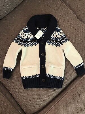 BNWT Baby Gap Boys Chunky Knitted Cardigan White Navy 12-18 Months