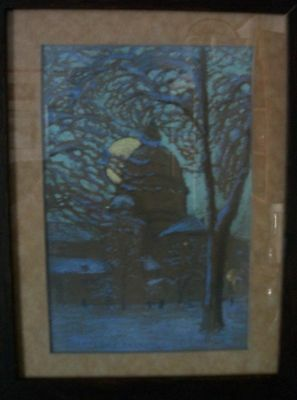 arts and crafts frame with 1920's painting by Lorna Lomer Macaulay