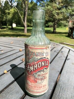 Fancy Ribbed Standard Ammonia Labeled Antique Household Cleaning Bottle Chicago