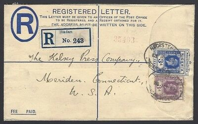 Nigeria KGV 3d registered envelope uprated 3d used 1930 IBADAN to USA