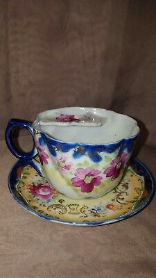 Antique Vintage Mustache Hand Painted Tea Cup Mug and Saucer Floral